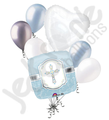 Communion Blessing Blue Boy Balloon Bouquet