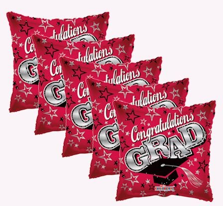 Red Congratulations Grad Square Balloon