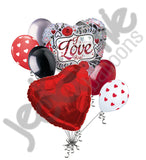 Contemporary Key to my Heart & Roses I Love You Balloon Bouquet