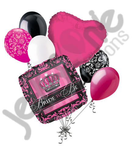Black & Hot Pink Damask Bride to Be Balloon Bouquet