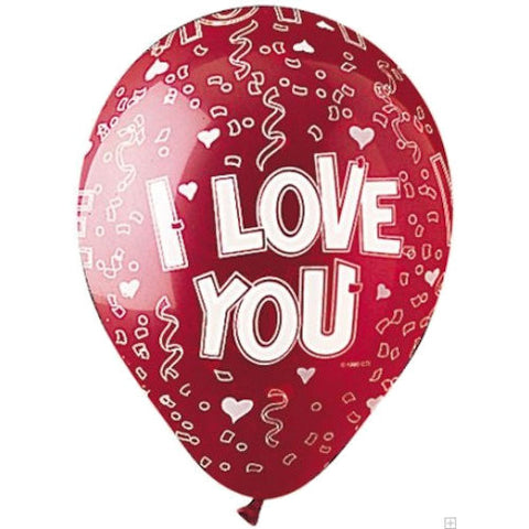 Crystal Red I Love You Latex Balloons