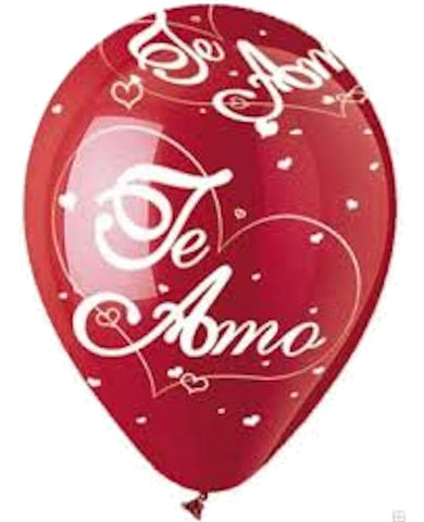 Crystal Red Te Amo Latex Balloons