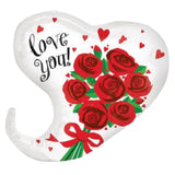 Curvy Love You Roses Heart Balloon Bouquet