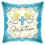 Angels Baptism Blue Baby Boy Balloon Bouquet