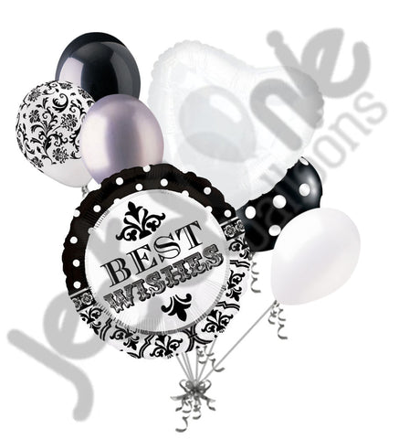 Black & White Damask & Dots Best Wishes Balloon Bouquet