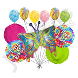 Psychedelic Hippie Butterfly Happy Birthday Balloon Bouquet
