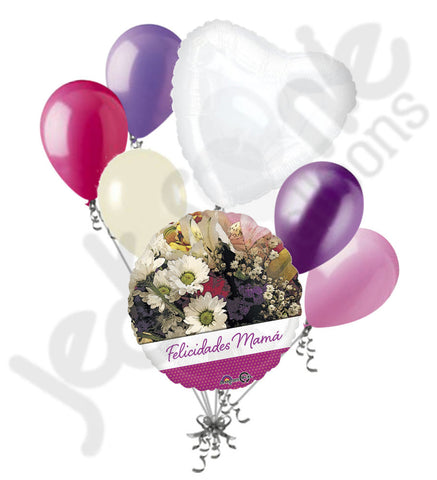 Felicidades Mama Pretty Flowers Happy Mother's Day Balloon Bouquet