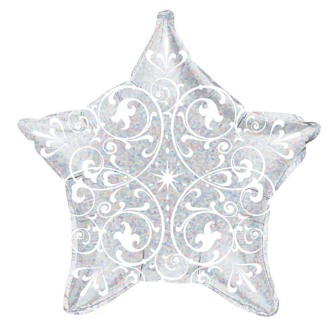 Filigree Silver Star Holographic Balloon