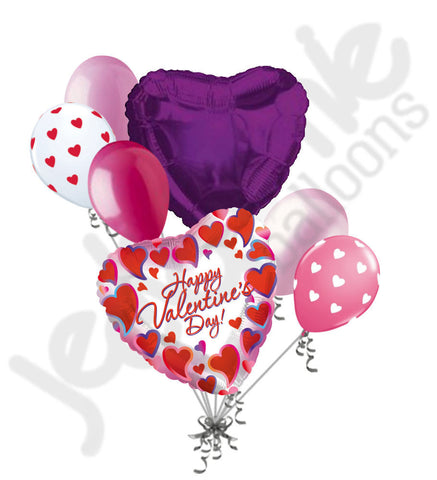 Bright Framed Heart Happy Valentines Day Balloon Bouquet