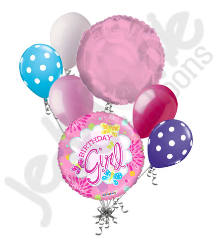 Birthday Girl Pretty Pink Butterflies Balloon Bouquet