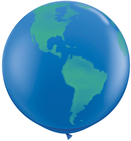 "Giant 36"" Qualatex Dark Blue Earth Globe Latex Balloon"