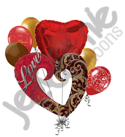 Gold Damask I Love You Balloon Bouquet