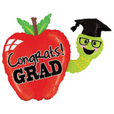 Congrats Grad Apple & Bookworm Balloon Bouquet