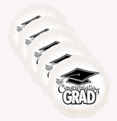 White Congratulations Grad Round Balloon