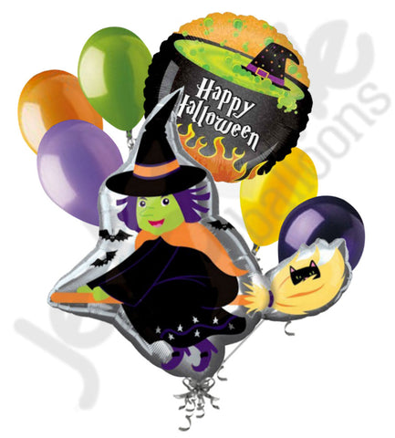 Flying Wicked Witch with Broom Halloween Balloon Bouquet