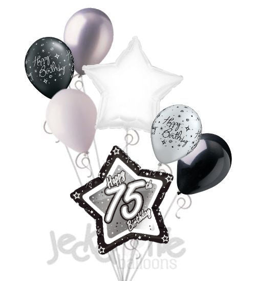 Elegant Star Happy 75th Birthday Balloon Bouquet Jeckaroonie Balloons