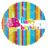 Bright Cupcake & Stripes Happy Birthday Balloon Bouquet