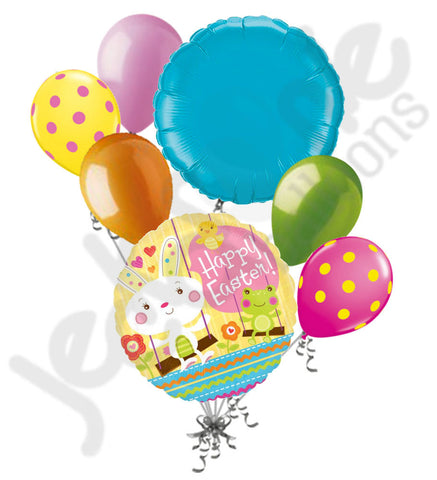 Bunny, Chicks, & Frogs Happy Easter Balloon Bouquet