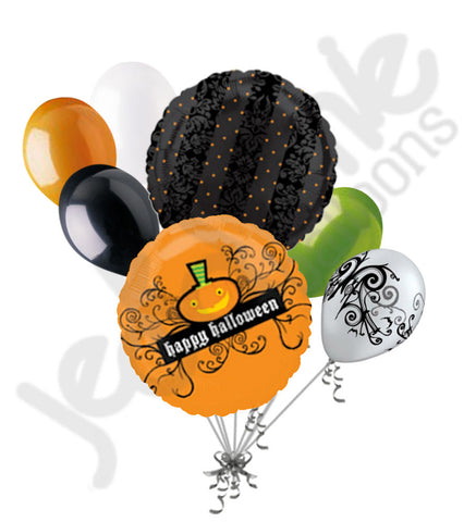 Jack-O-Lantern Filigree Halloween Balloon Bouquet