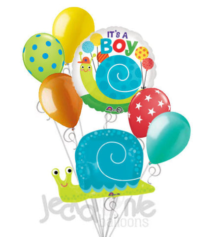 Happy Snail Baby Boy Balloon Bouquet