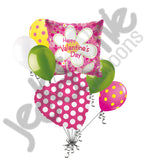 Daisy Flower Happy Valentines Day Square Balloon Bouquet