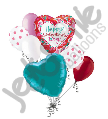 Bright Fancy Hearts Happy Valentines Day Balloon Bouquet