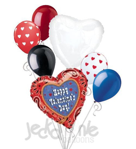 Western Paisley Happy Valentines Day Balloon Bouquet