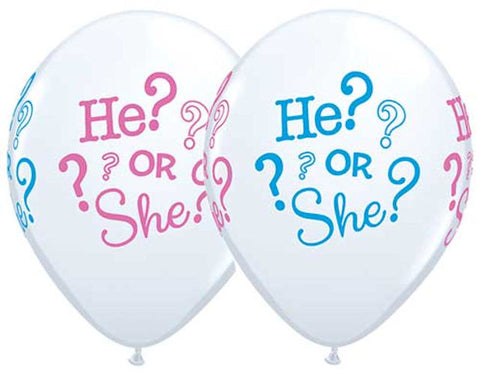 He? or She? Gender Reveal Latex Balloons
