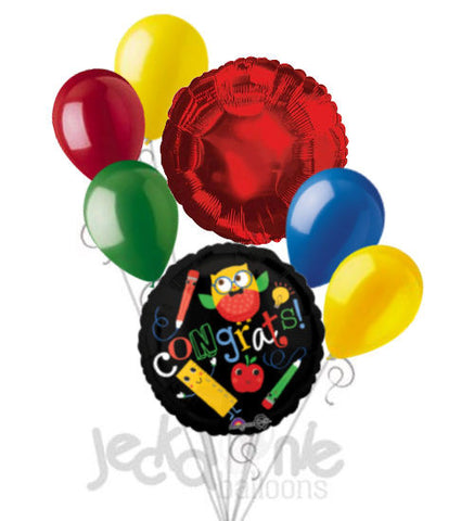 Hip Hip Hooray Congrats Owl Grad Balloon Bouquet
