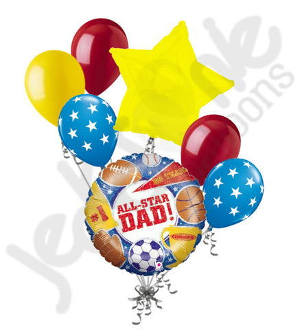 Holographic All Star Sports Dad Happy Father's Day Balloon Bouquet