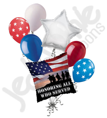Honoring All Who Served Veterans Patriotic Balloon Bouquet