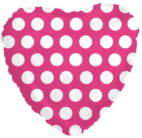 Hot Pink Polka Dot Heart Decorator Balloon