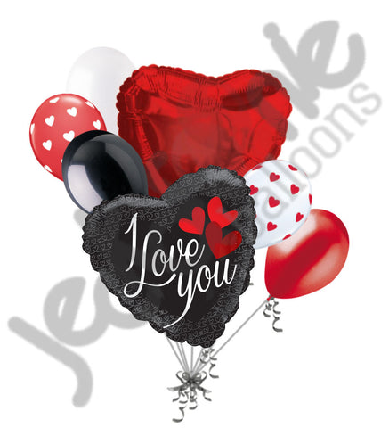 Black & Red Sultry Hearts I Love You Balloon Bouquet