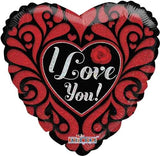 Red & Black Stained Glass I Love You Balloon Bouquet