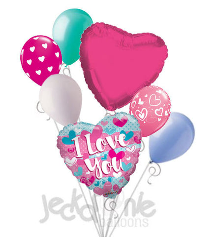 Turquoise & Pink I Love You Balloon Bouquet