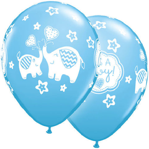 Baby Boy Blue Elephant Latex Balloons