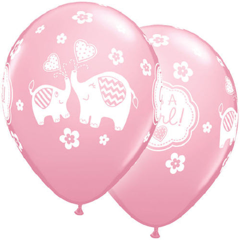 Baby Girl Elephant Latex Balloons