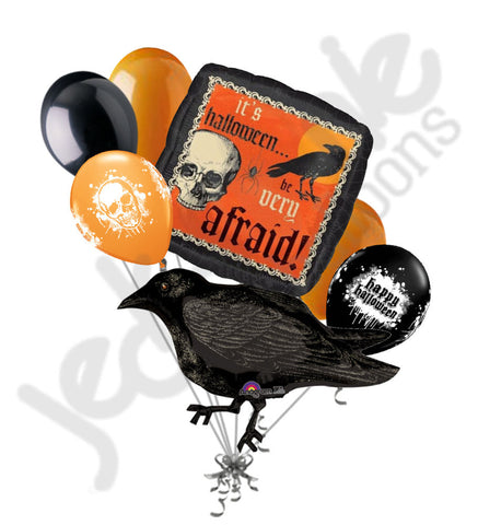 Be Afraid Black Crow Halloween Autumn Harvest Balloon Bouquet