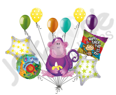 Jungle Party Monkey Happy Birthday Balloon Bouquet