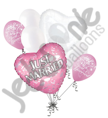 Pink Just Married Celebration Balloon Bouquet