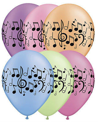 Neon Music Note Latex Balloons