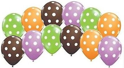 Autumn & Halloween Inspired Polka Dot Latex Balloons