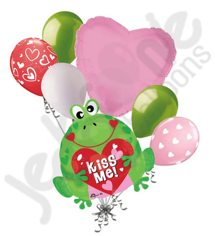 Kiss Me! Frog Valentine's Day Balloon Bouquet