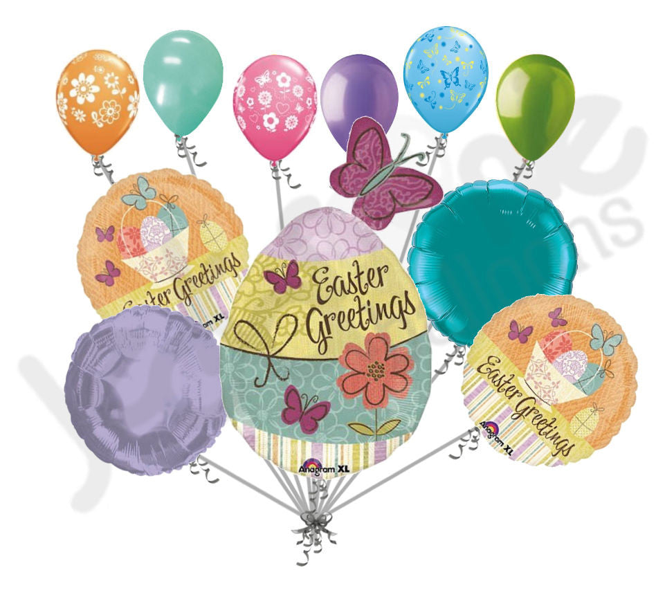 Shabby Chic Happy Easter Egg Butterfly Balloon Bouquet
