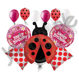 Little Red Ladybug & Dasies Happy Birthday Balloon Bouquet