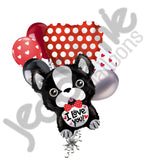 French Bulldog I Love You Balloon Bouquet