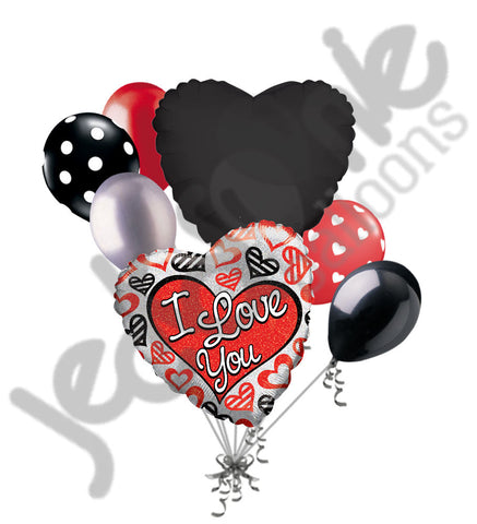 Black, Silver & Red Hearts I Love You Balloon Bouquet