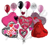Animal Print Cluster I Love You Hearts Balloon Bouquet