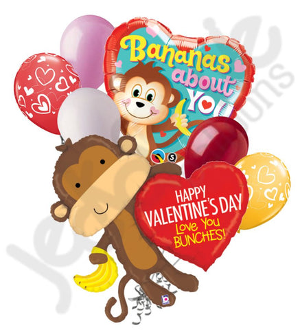 Love You to Bunches Monkey Valentine's Day Balloon Bouquet
