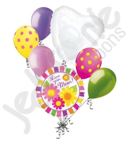 Bright Stripes & Flowers Happy Mother's Day Balloon Bouquet